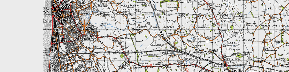 Old map of Todderstaffe Hall in 1947