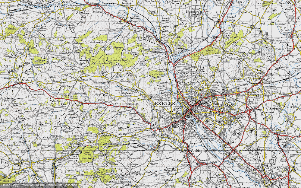 Old Map of Historic Map covering Alphin Brook in 1946