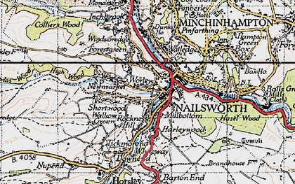 Old map of Nailsworth in 1946