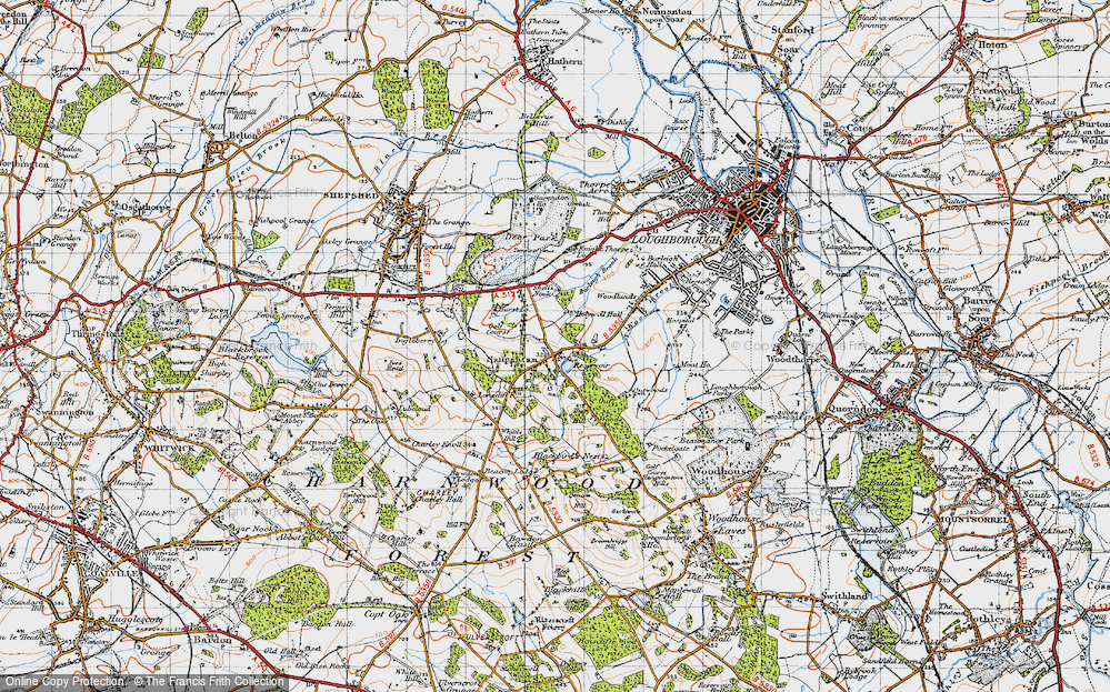 Old Map of Historic Map covering Wood Brook in 1946