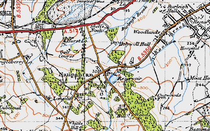 Old map of Wood Brook in 1946