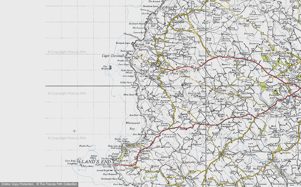 Old Map of Historic Map covering Aire Point in 1946