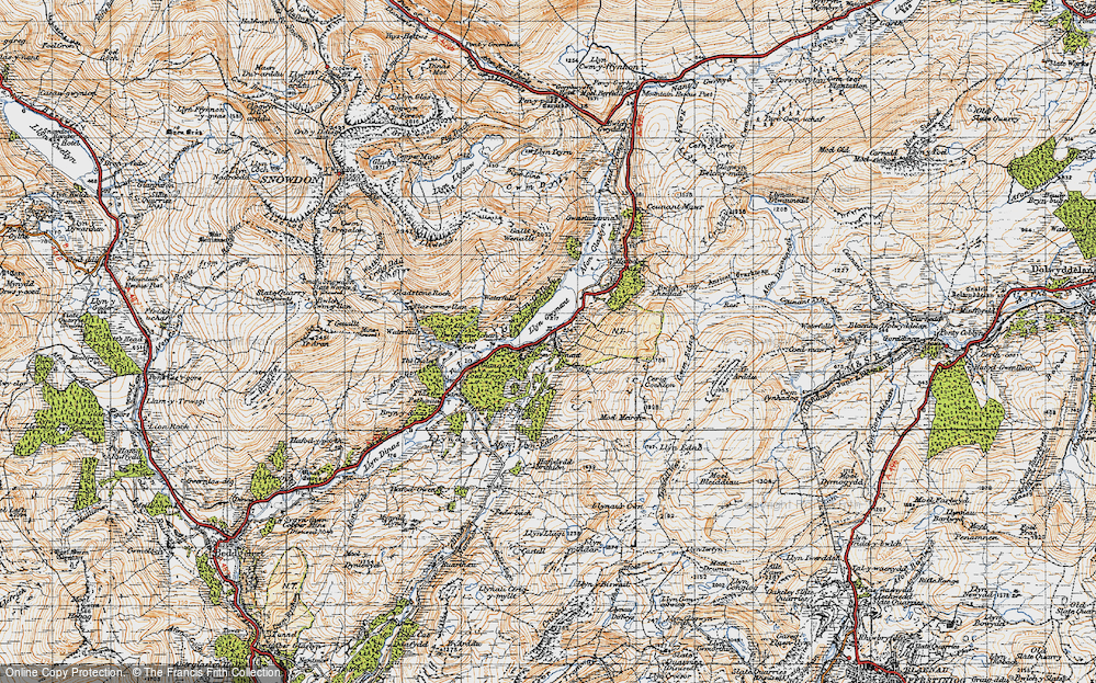 Old Map of Historic Map covering Afon Llynedno in 1947