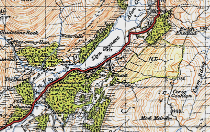 Old map of Afon Cors-y-celyn in 1947