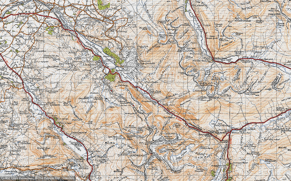 Old Map of Historic Map covering Afon Gafr in 1947