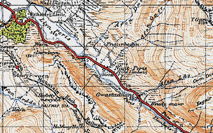 Old map of Afon Gafr in 1947
