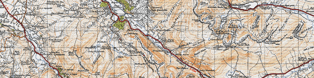 Old map of Nant Peris in 1947