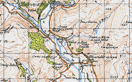 Old map of Ystradffin in 1947