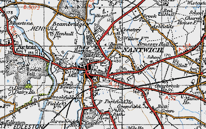 Old map of Nantwich in 1947
