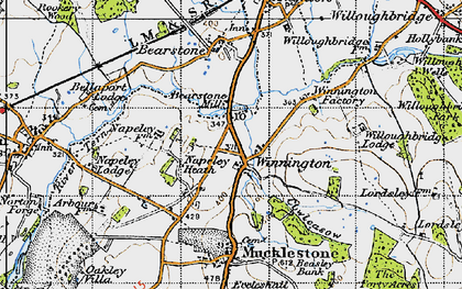 Old map of Willoughbridge Lodge in 1946