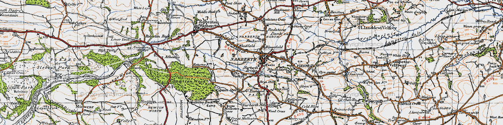 Old map of Narberth in 1946