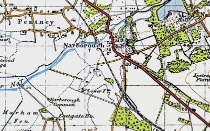 Old map of Narborough in 1946