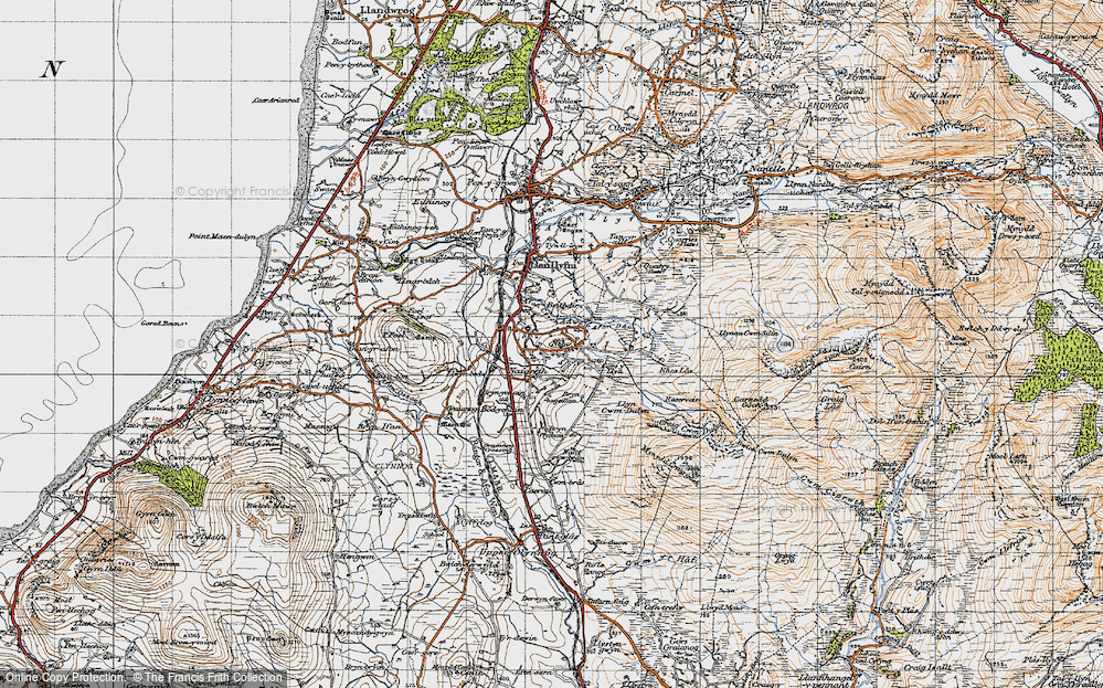 Old Map of Historic Map covering Afon Ddu in 1947
