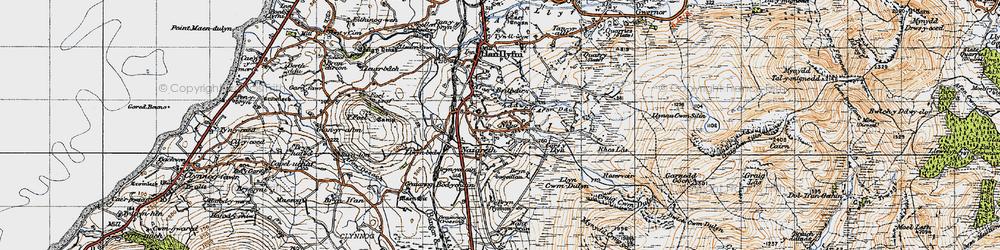 Old map of Afon Crychddwr in 1947