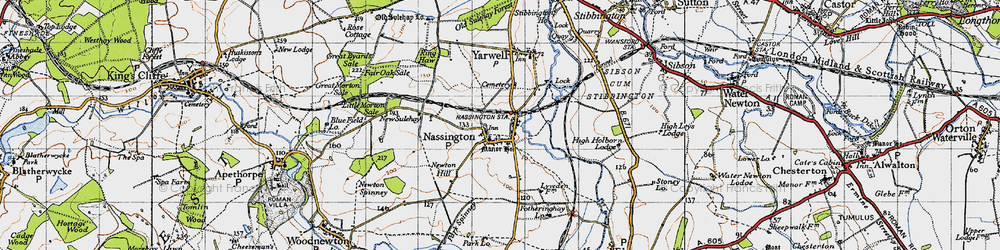 Old map of Nassington in 1946