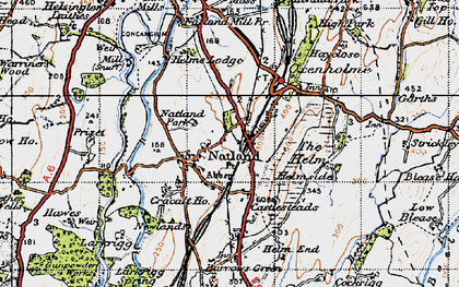 Old map of Natland in 1947