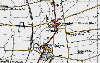 Old map of Navenby in 1947