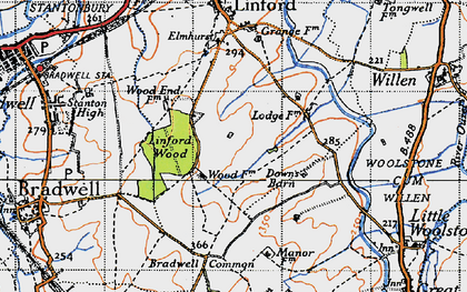 Old map of Linford Wood in 1946