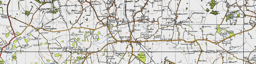 Old map of White Hall in 1946