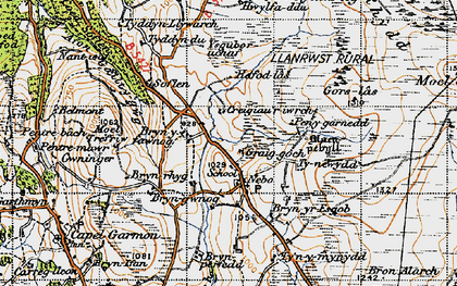 Old map of Afon Iwrch in 1947