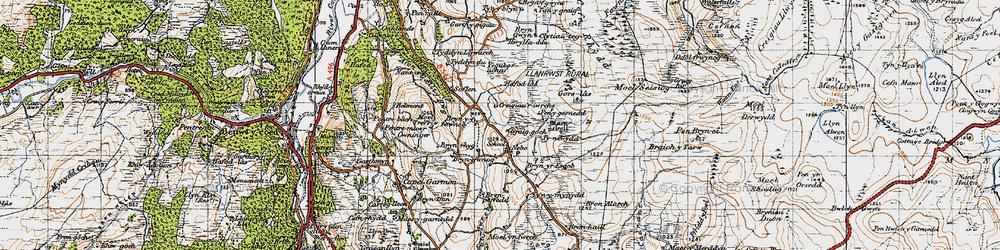 Old map of Afon Iwrch in 1947