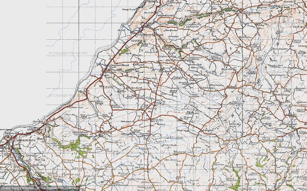 Old Map of Historic Map covering Afon Cledan in 1947