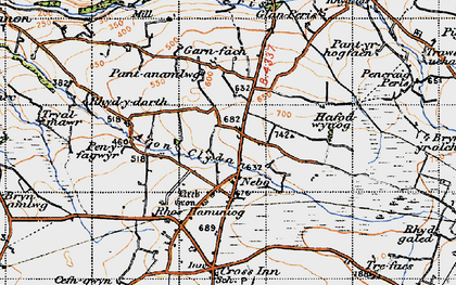 Old map of Afon Cledan in 1947