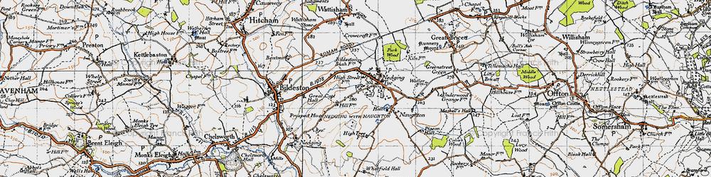Old map of Nedging Tye in 1946