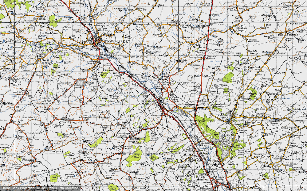 Old Map of Historic Map covering Badley Hill in 1946