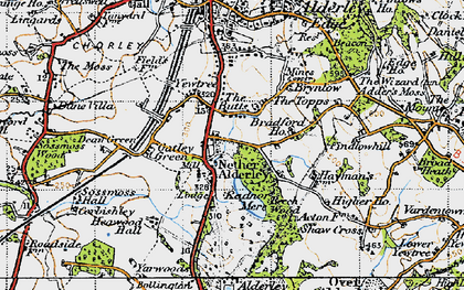 Old map of Nether Alderley in 1947