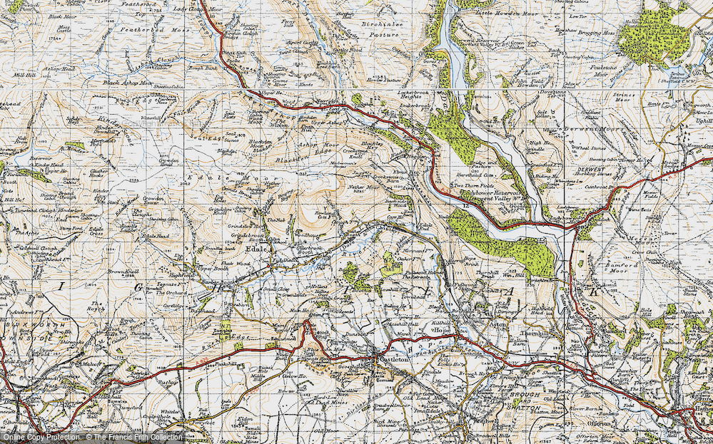 Old Map of Historic Map covering Back Tor in 1947
