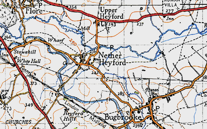 Old map of Nether Heyford in 1946