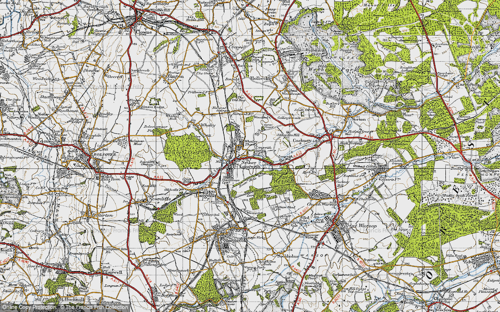 Old Map of Historic Map covering Langwith Mill Ho in 1947