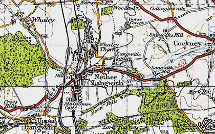 Old map of Langwith Mill Ho in 1947