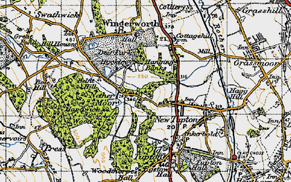 Old map of Nether Moor in 1947