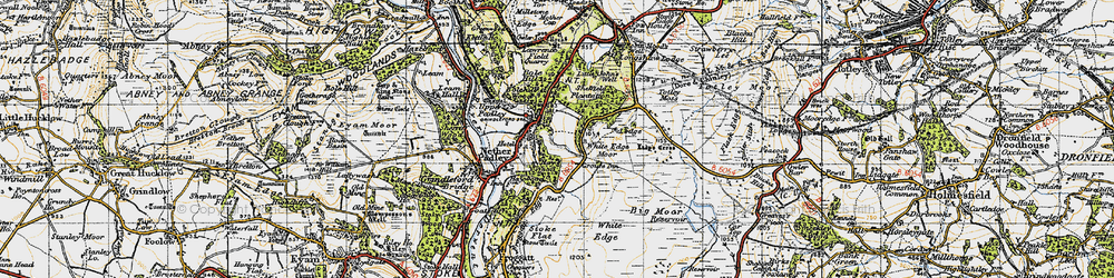 Old map of White Edge Moor in 1947