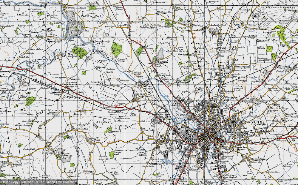Old Map of Nether Poppleton, 1947 in 1947