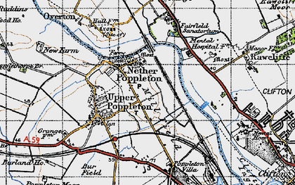 Old map of Nether Poppleton in 1947