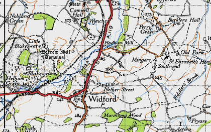 Old map of Wynches in 1946
