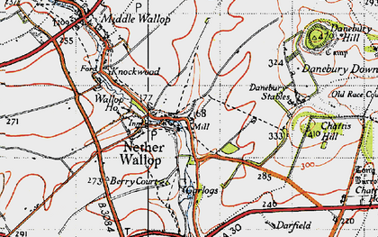 Old map of Nether Wallop in 1940