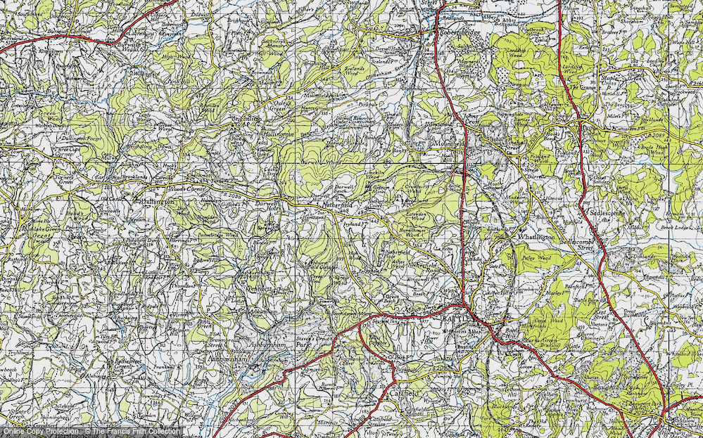 Old Map of Historic Map covering Atkins Wood in 1940
