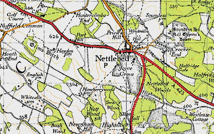 Old map of Nettlebed in 1947