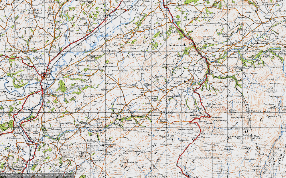 Old Map of Historic Map covering Afon Camnant in 1947