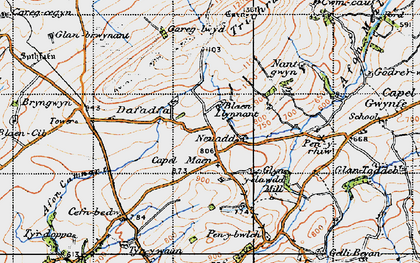 Old map of Afon Camnant in 1947