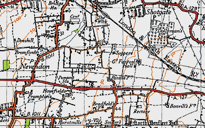 Old map of Nevendon in 1945