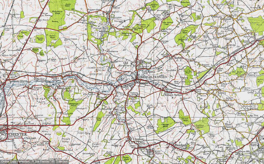 Old Map of Historic Map covering Hampshire in 1945