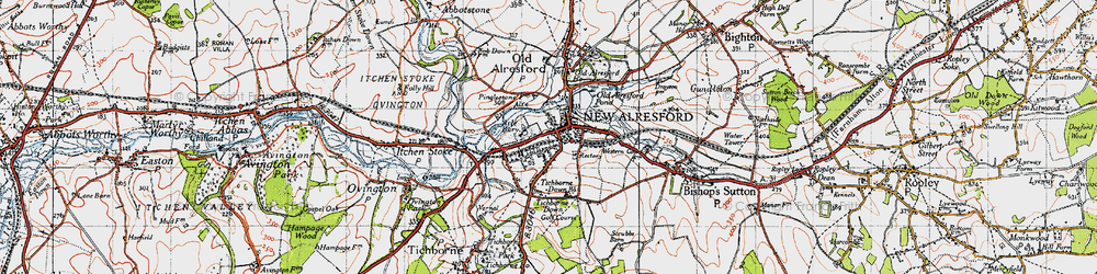Old map of Tichborne Down in 1945