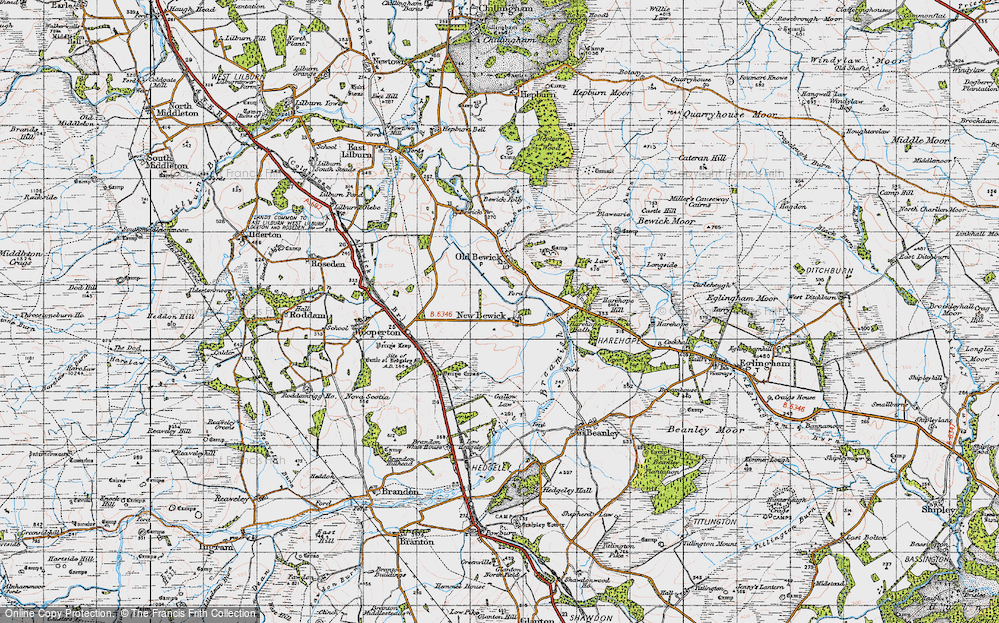 Old Map of Historic Map covering Tick Law in 1947