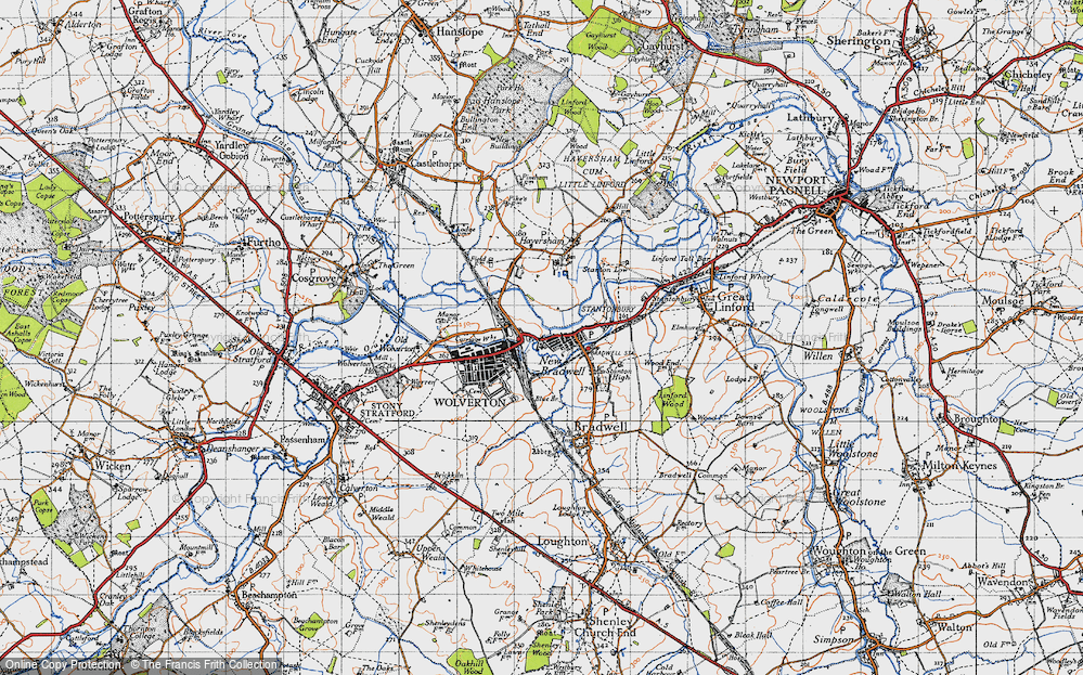 Old Map of New Bradwell, 1946 in 1946