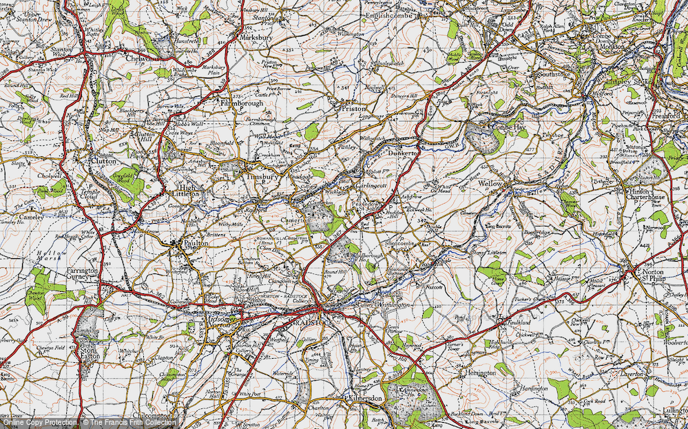 Old Map of Historic Map covering Woodborough Ho in 1946